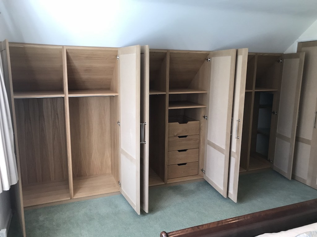 Oak Veneer Bespoke Wardrobe Danish oil finish